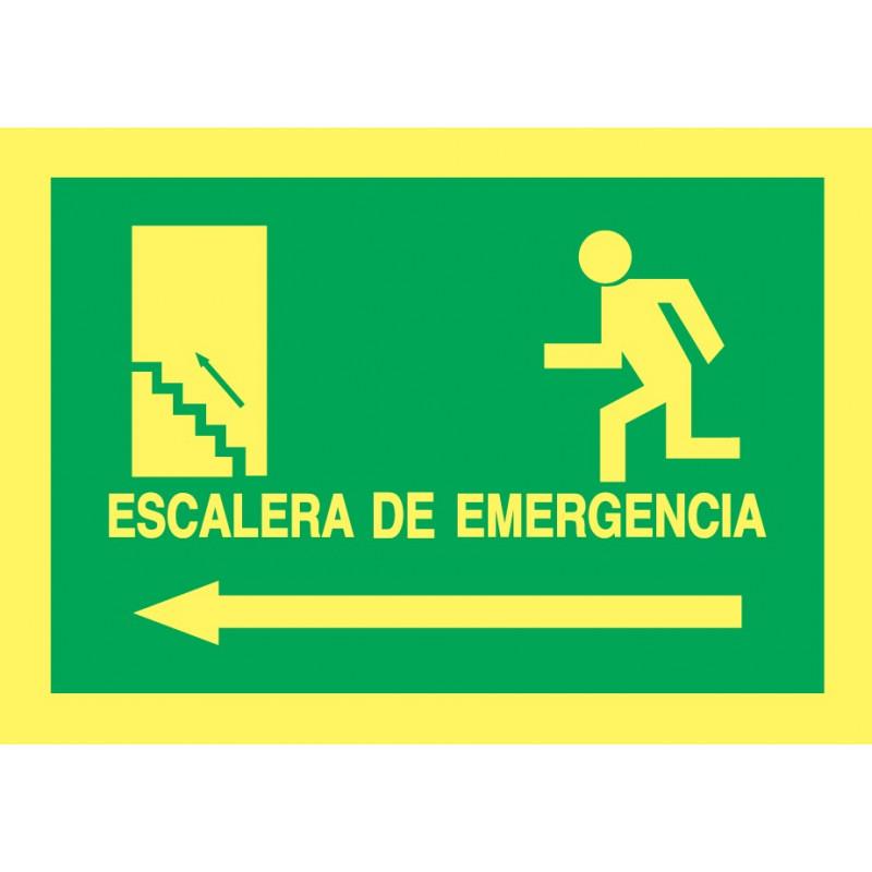Cartel Fotoluminiscente Escalera de Emergencia con texto. Flecha, Izquierda. Piso Superior, indicado