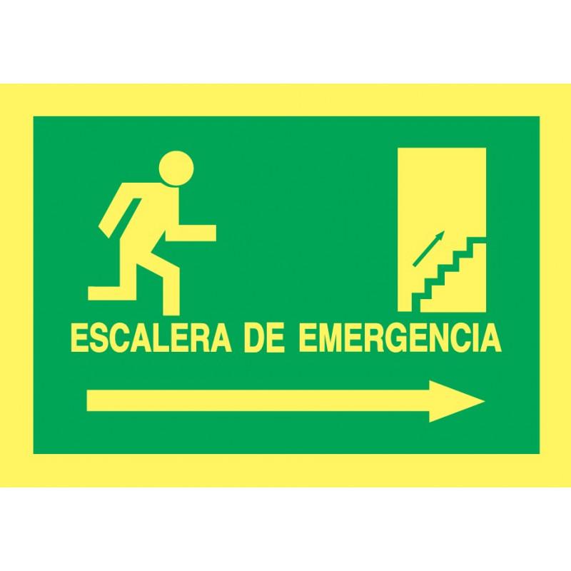 Cartel Fotoluminiscente Escalera de Emergencia con texto. Flecha, Derecha. Piso Superior, indicado