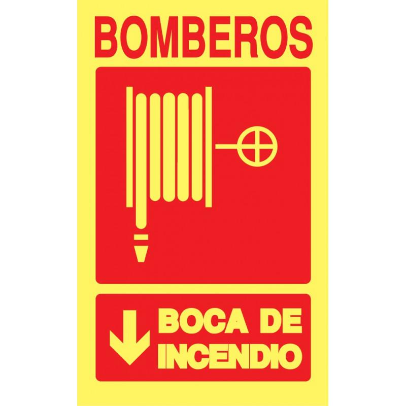 Cartel Fotoluminiscente Bomberos. Boca de Incendio