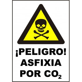 Cartel ¡Peligro! Asfixia por CO2