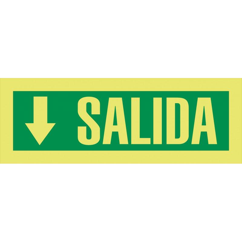 Cartel Fotoluminiscente Salida - Flecha Abajo Pequeña