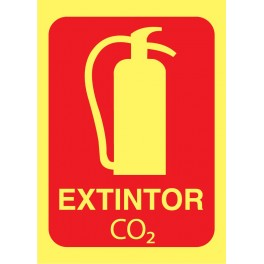 Cartel Fotoluminiscente Extintor CO2