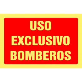 Cartel Fotoluminiscente Uso Exclusivo Bomberos