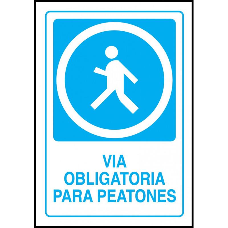 Cartel Vía Obligatoria para Peatones