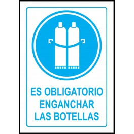 Cartel Es Obligatorio Enganchar Las Botellas