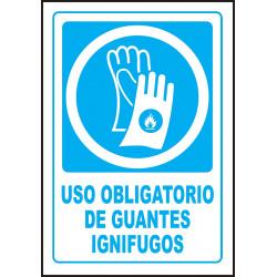 Cartel Uso Obligatorio de Guantes Ignífugos