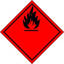 Peligro de Clase 2 y 3 - Señal Gases y Líquidos Inflamables - Negro