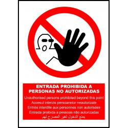 Cartel Entrada Prohibida a Personas No Autorizadas - Multilenguaje