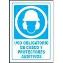 Cartel Uso Obligatorio de Casco y Protectores Auditivos