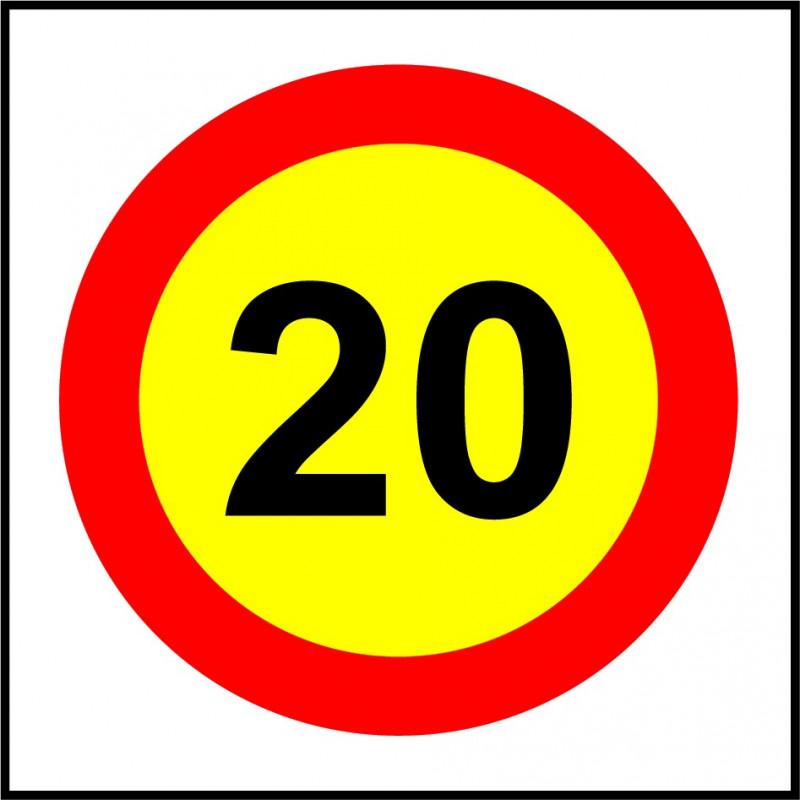 Cartel Velocidad Máxima 20 - Obra