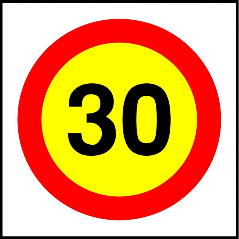 Cartel Velocidad Máxima 30