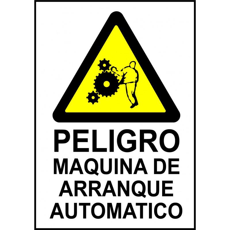 Cartel Peligro Máquina de Arranque Automático - Riesgo de Atrapamiento